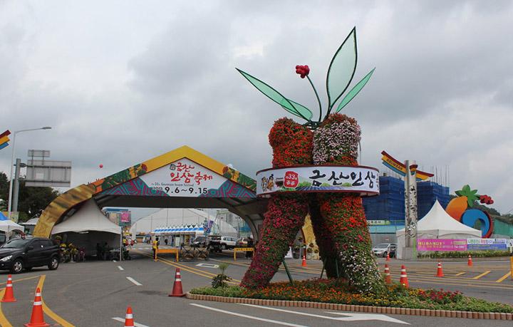 Cổng chào lễ hội thu hoạch nhân sâm tươi Hàn Quốc diễn ra từ tháng 9-11
