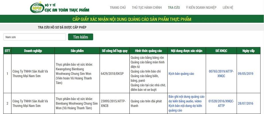 Thông tin xác nhận về sản phẩm Vũ hoàng Thanh Tâm của Bộ Y Tế - Cục An Toàn Thực Phẩm