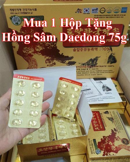 Tặng ngay hộp hồng sâm Daedong 75g khi mua Tinh Dầu Thông Đỏ Chính Phủ 120 Viên