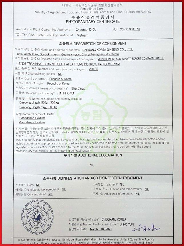 Giấy chứng nhận kiểm dịch tại Hàn Quốc của Nấm Linh Chi Daedong